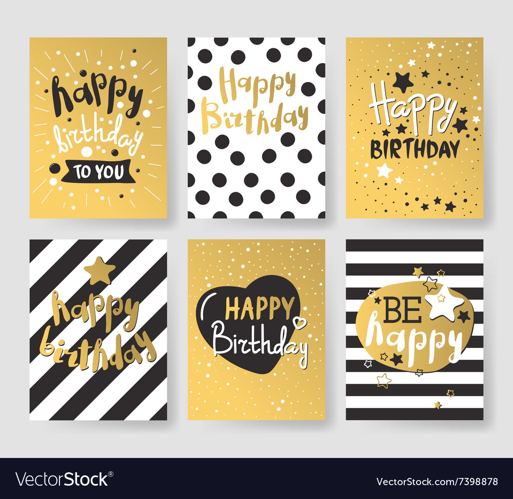 Set of beautiful birthday invitation cards