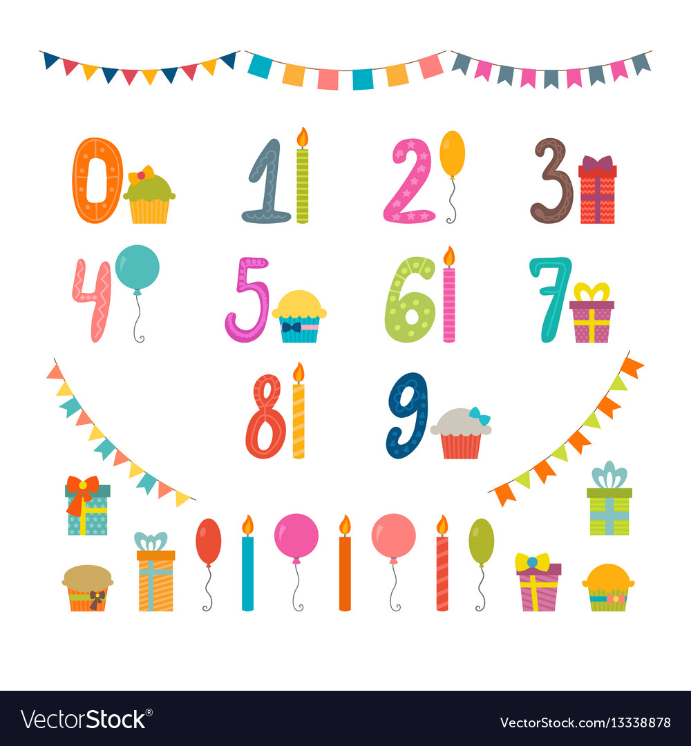 Set of birthday party design elements with numbers vector image