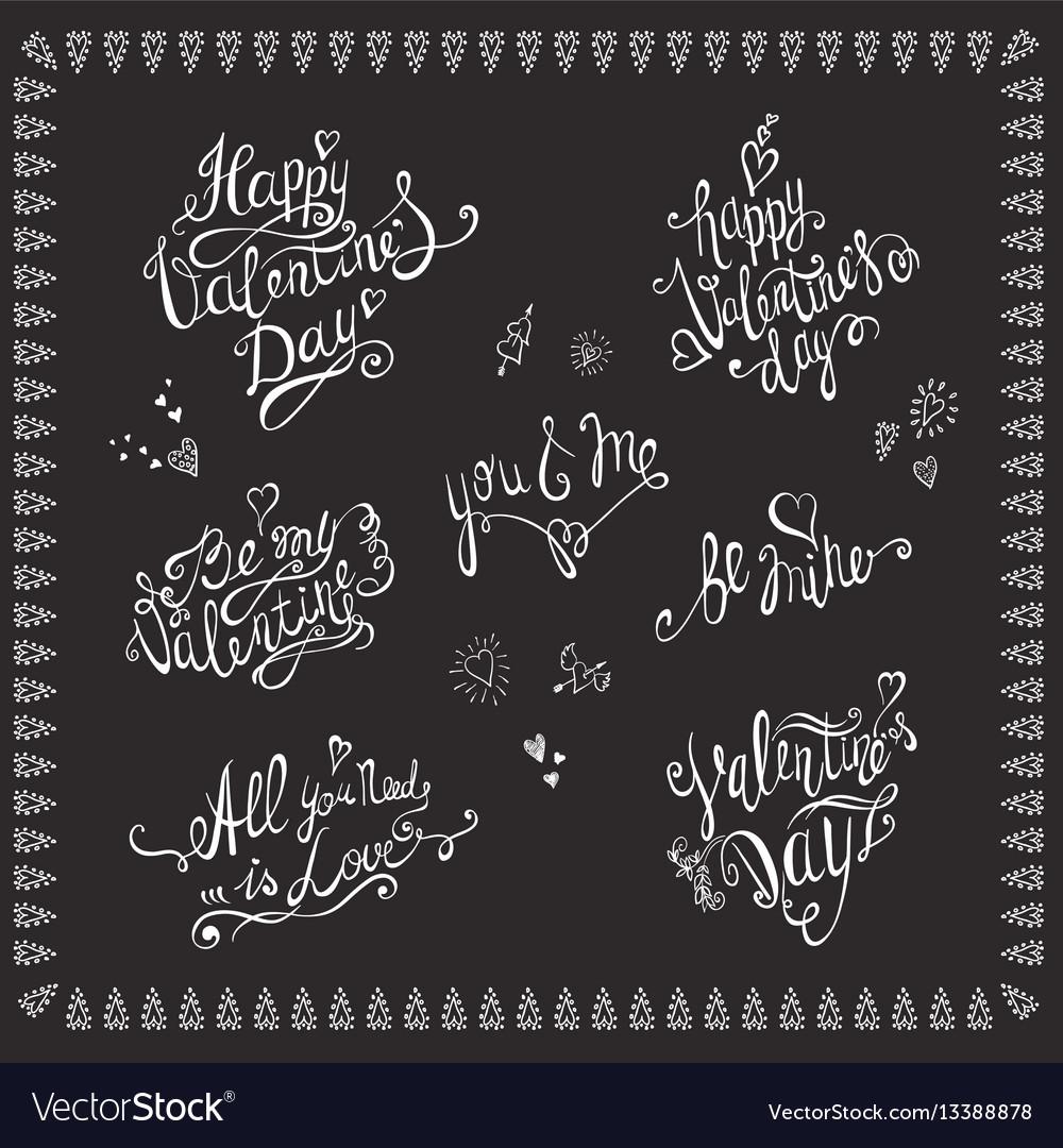 Valentines day lettering set