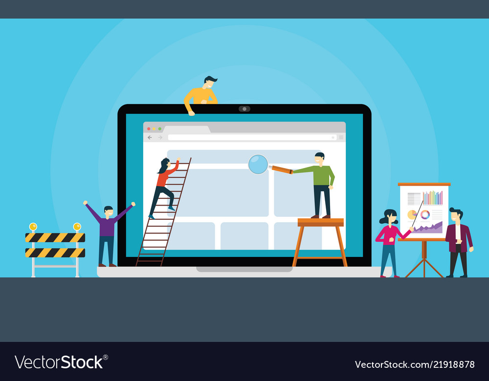 Website development team on front of laptop build