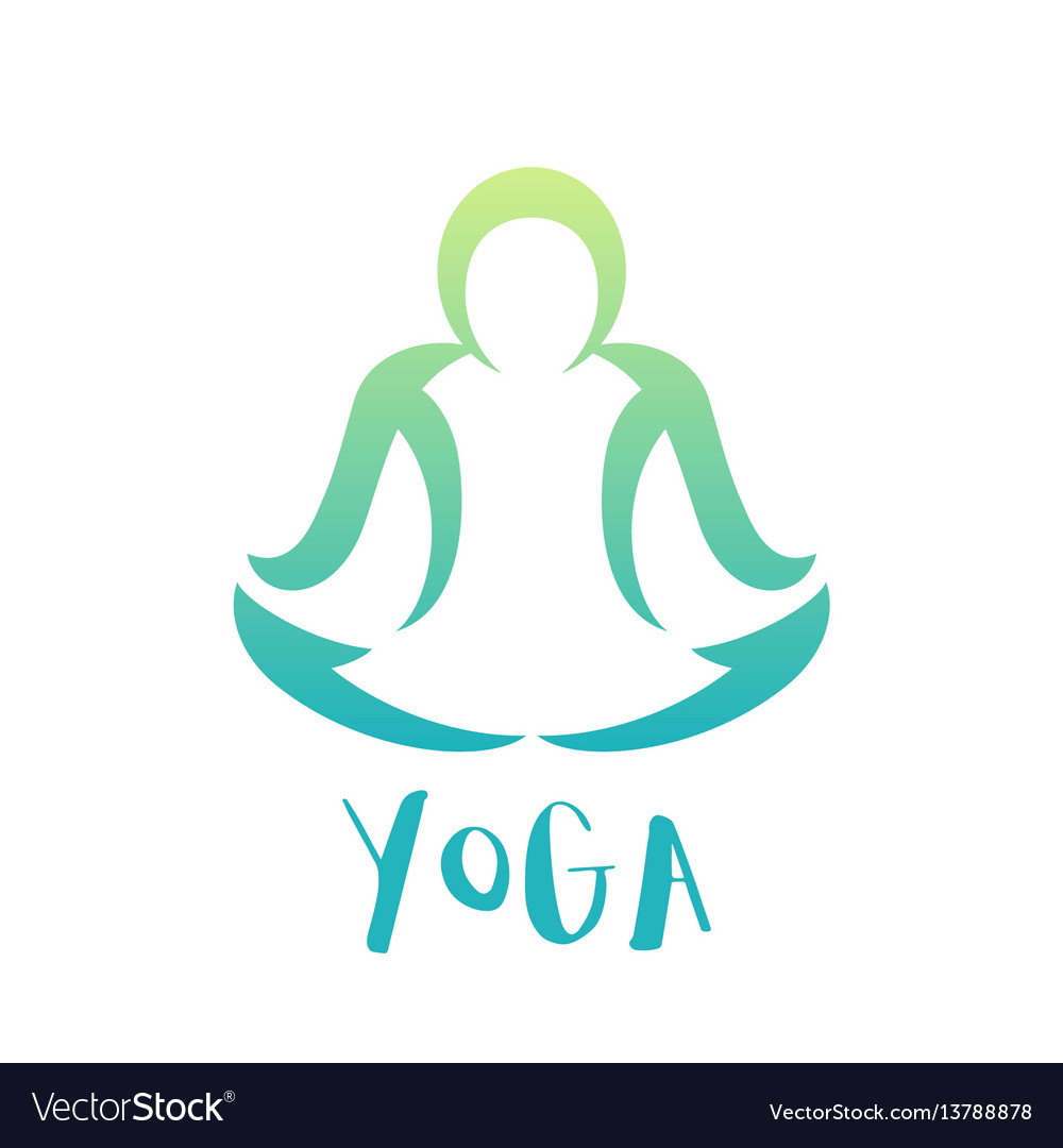 Yoga class logo element over white man in lotus