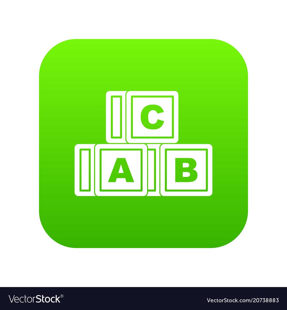 Abc cubes icon digital green