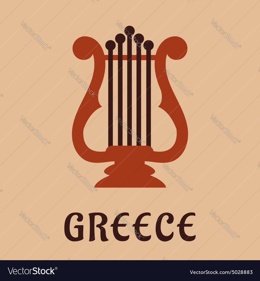 Ancient greek lyre culture symbol vector image