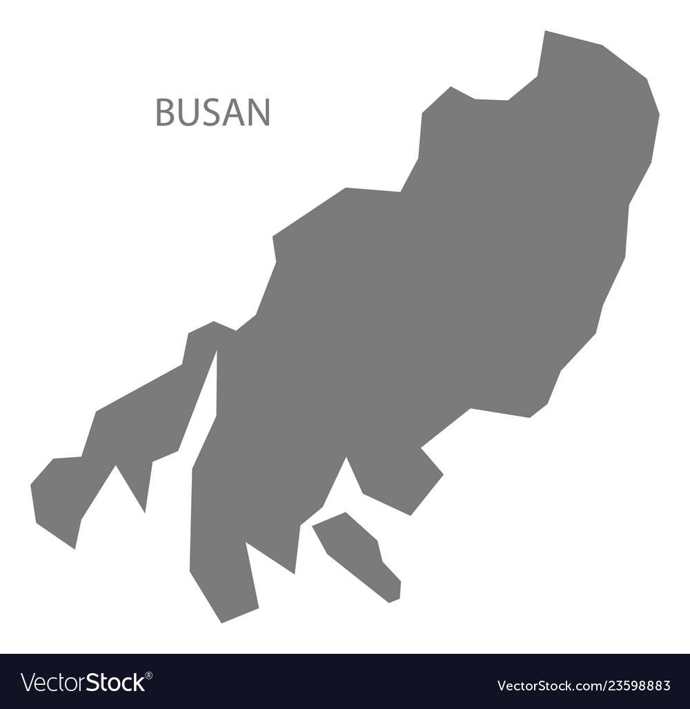 Busan South Korea Map Grey Royalty Free Vector Image