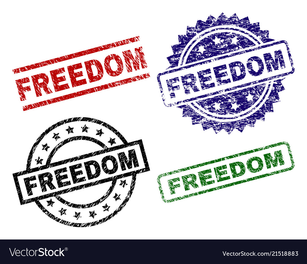 Grunge textured freedom seal stamps