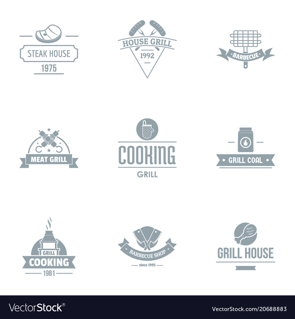 Meat Restaurant Logo Set Simple Style Royalty Free Vector