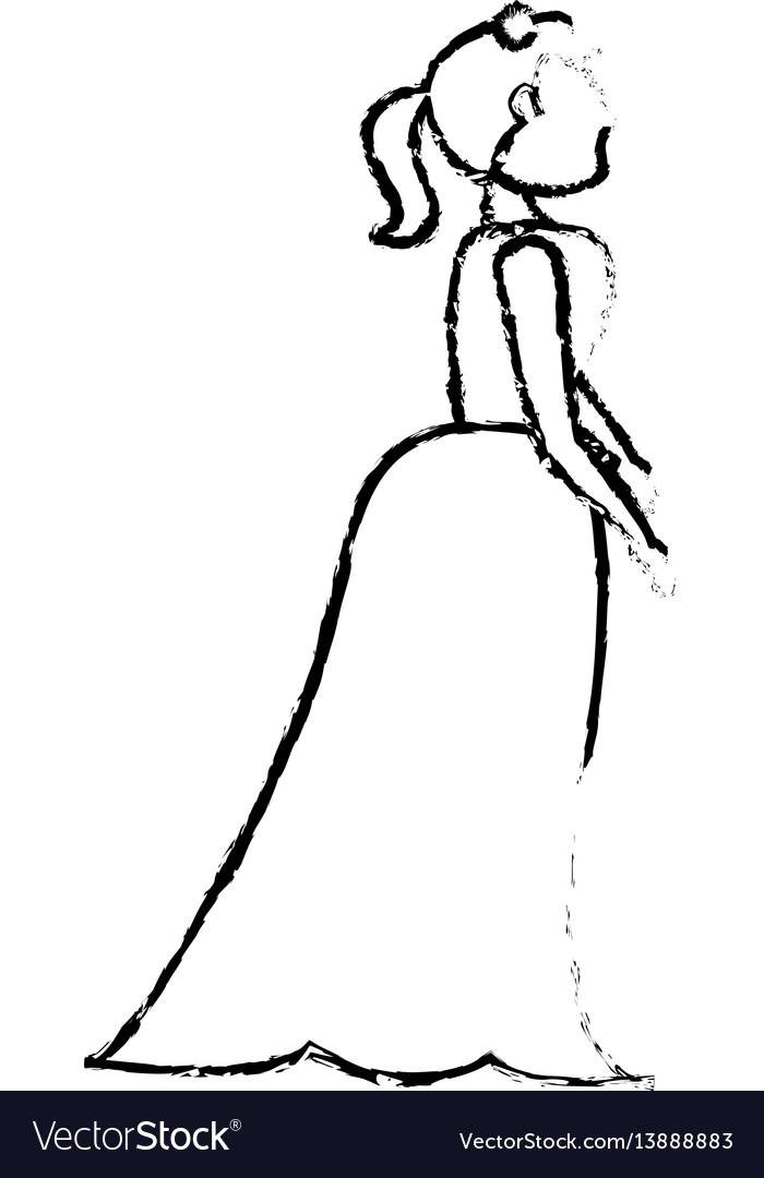 Portrait woman bride image sketch
