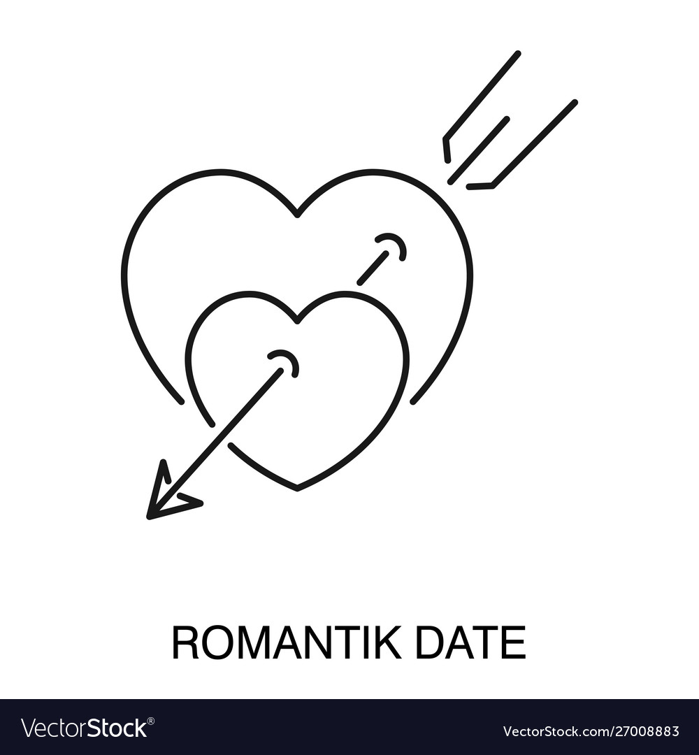 Romantic date symbol heart pierced with arrow
