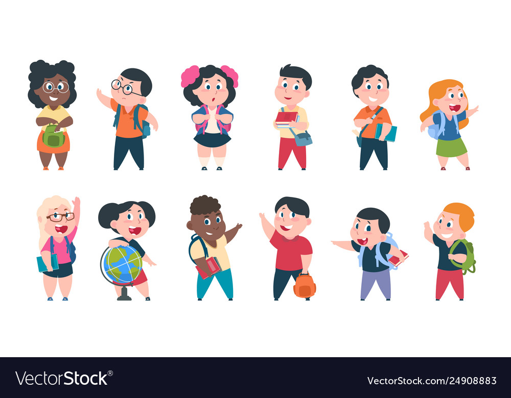 School kids cartoon children with books and