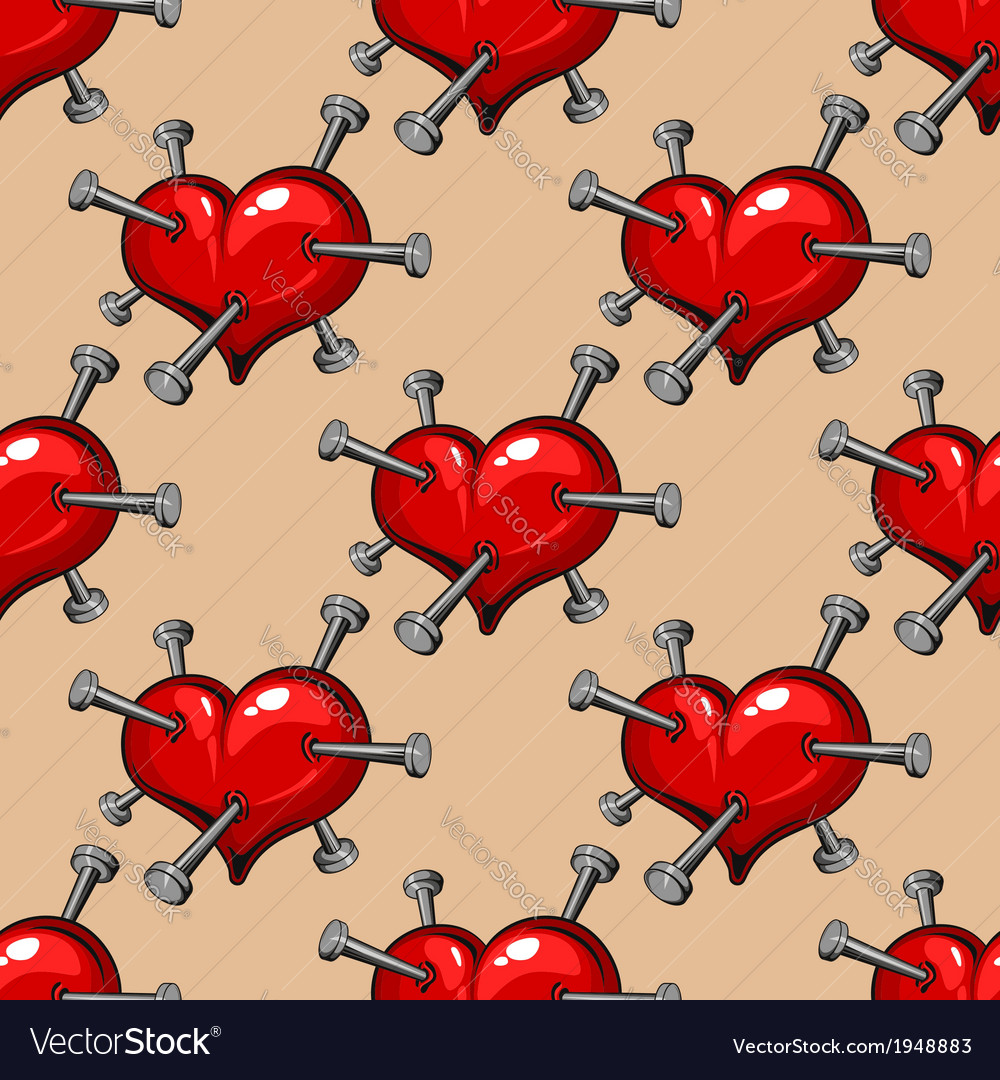 Seamless pattern of hearts studded with nails vector image