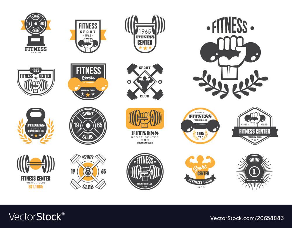 Set of retro fitness logo templates