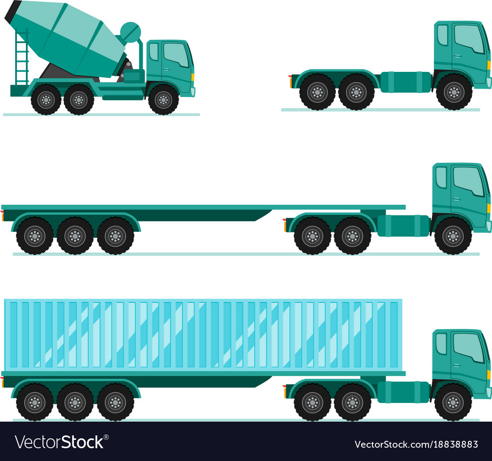 Truck sets trailer with container long vehicle