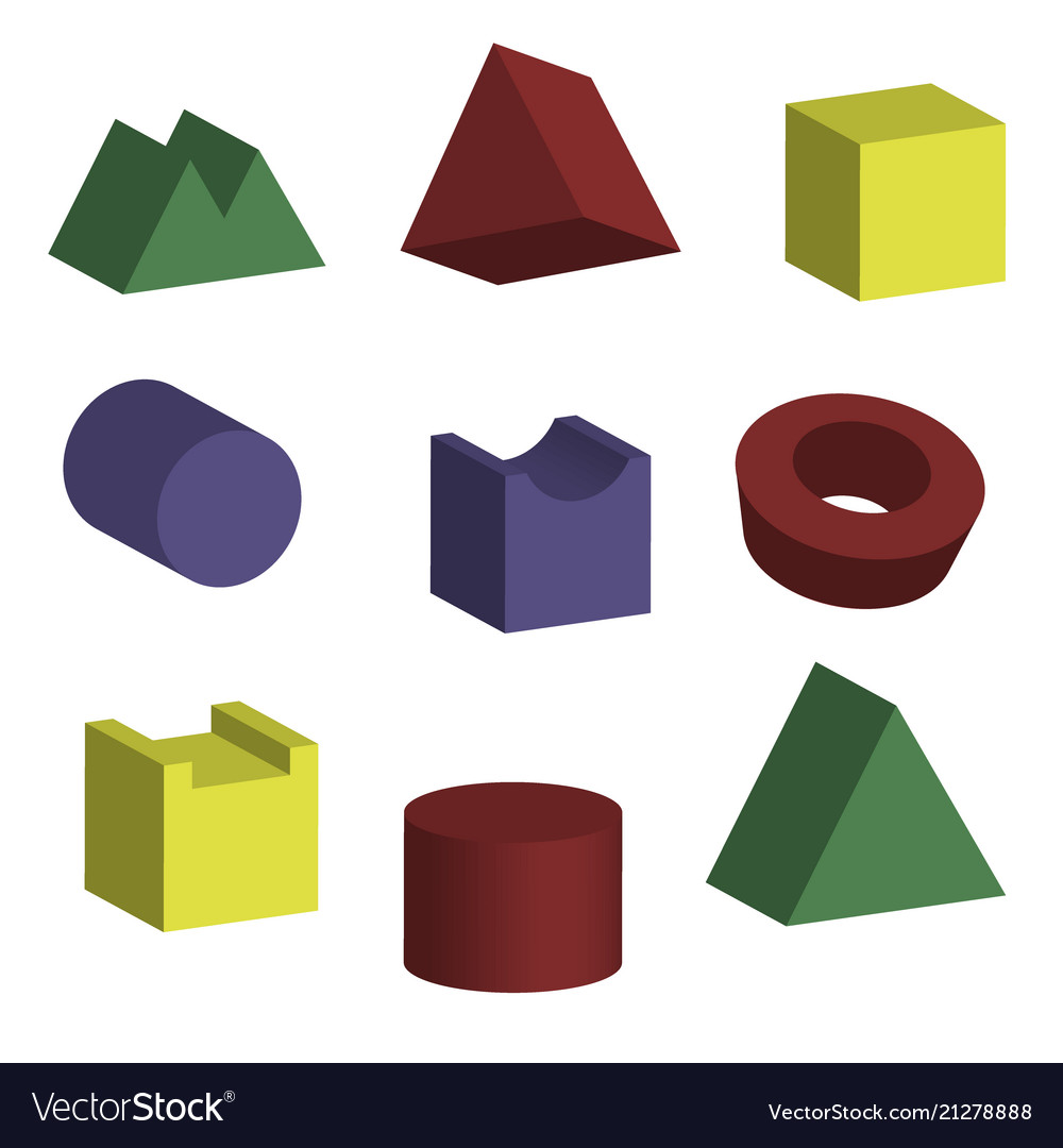 3d geometric shapes with isometric views