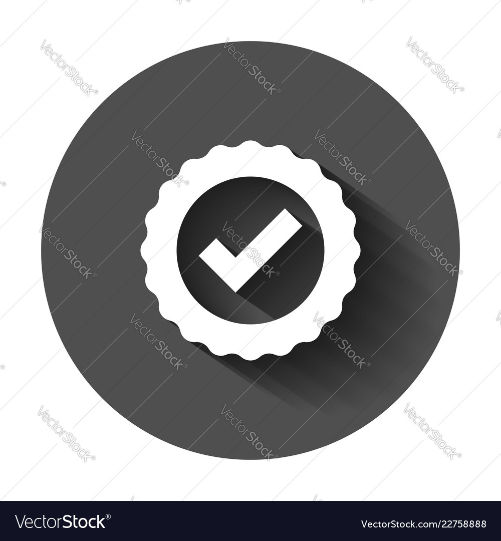 Approved certificate medal icon in flat style