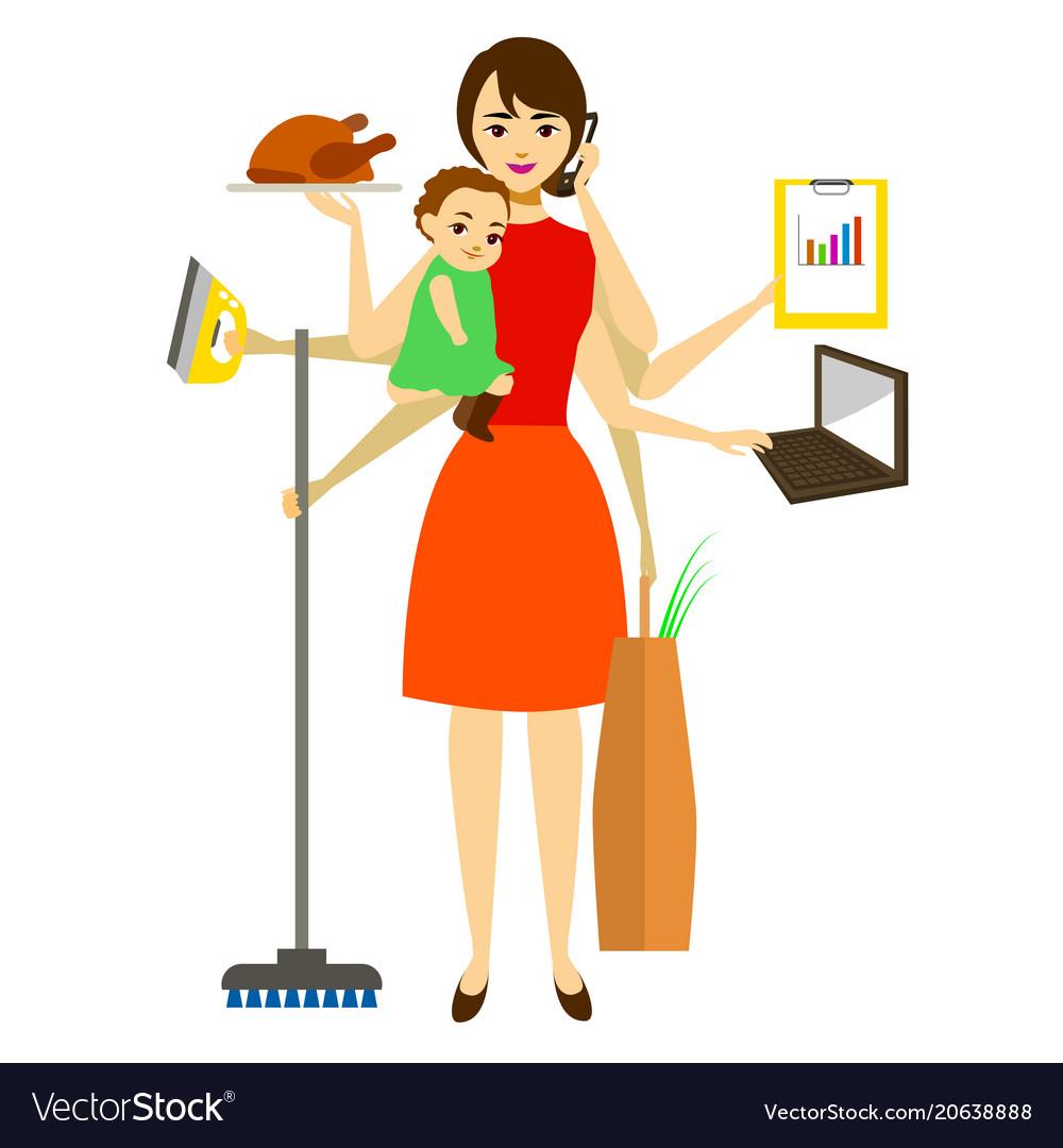 Cartoon super mom concept character