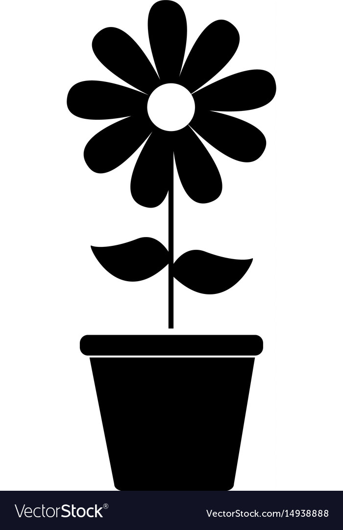 Cute sunflower garden with pot isolated icon
