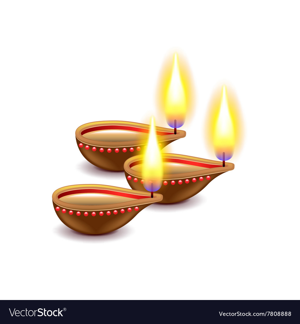 Diwali candles isolated on white