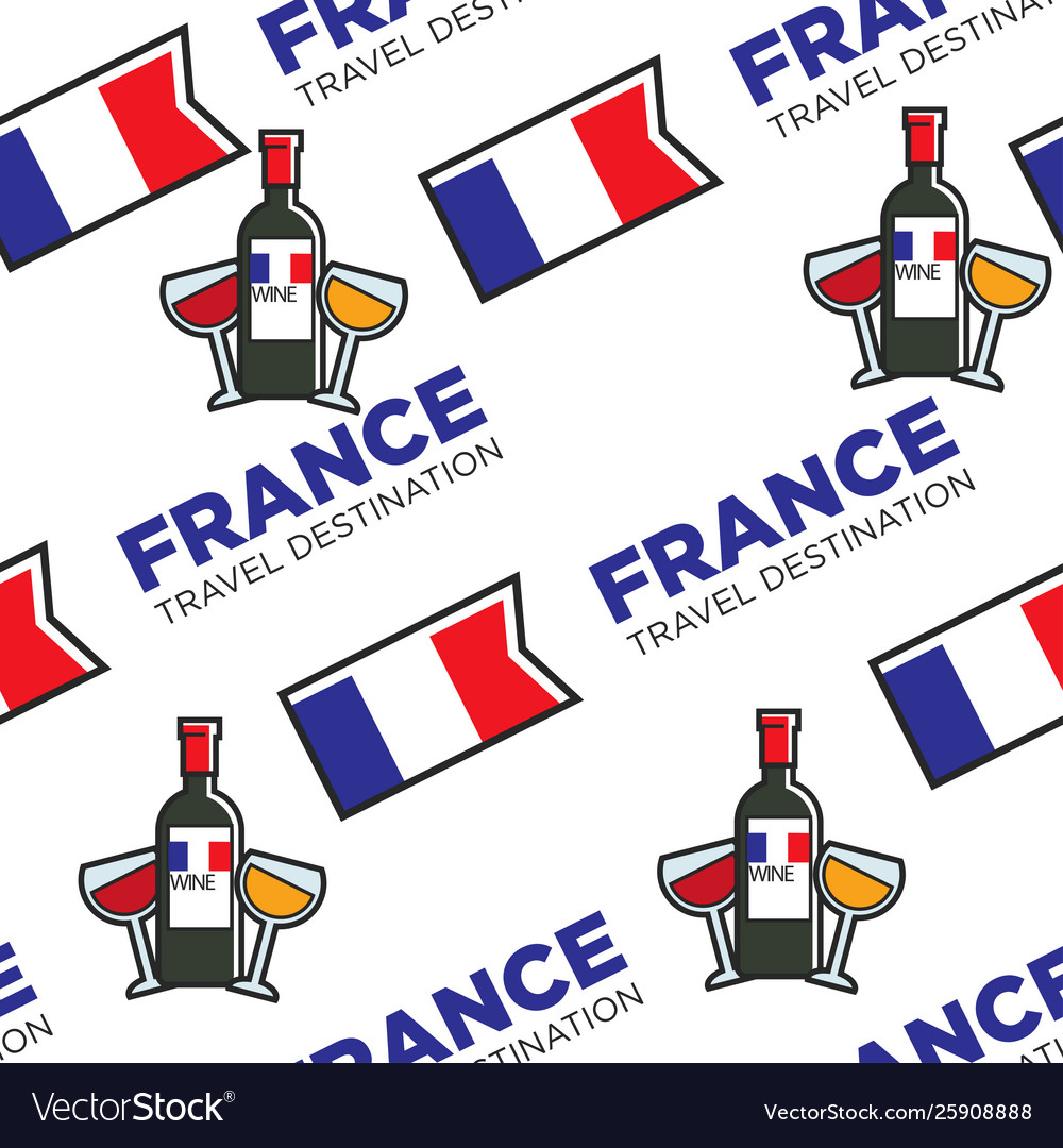 French wine glasses and bottle national flag