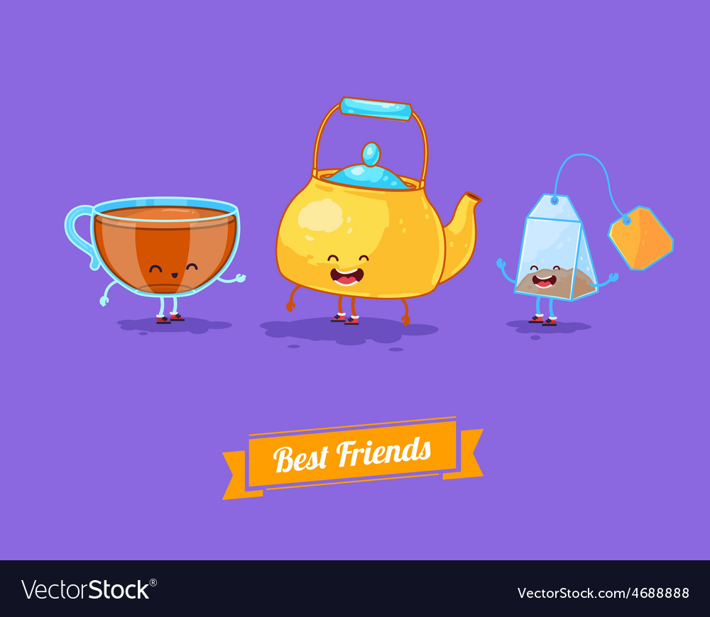 Funny cartoon Funny teapot cup and teabag