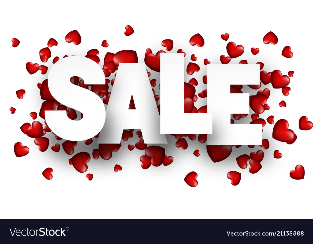 Sale background with red heart