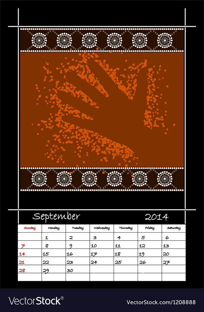 September 2014 - hand vector image