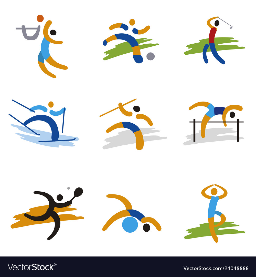 Set of sport expressive icons