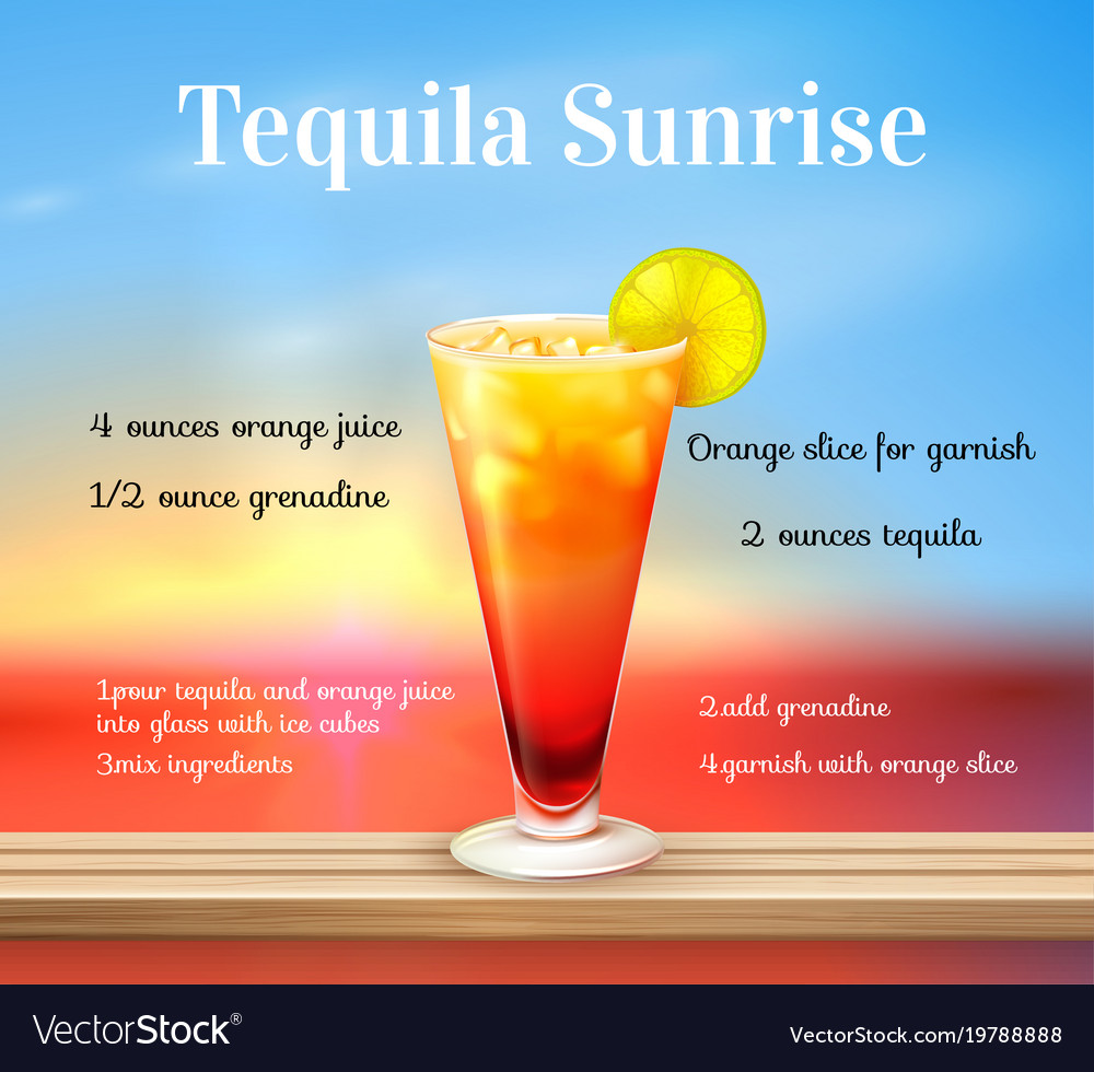 Tequila sunrise cocktail  Tequila sunrise cocktail background Royalty Free Vector