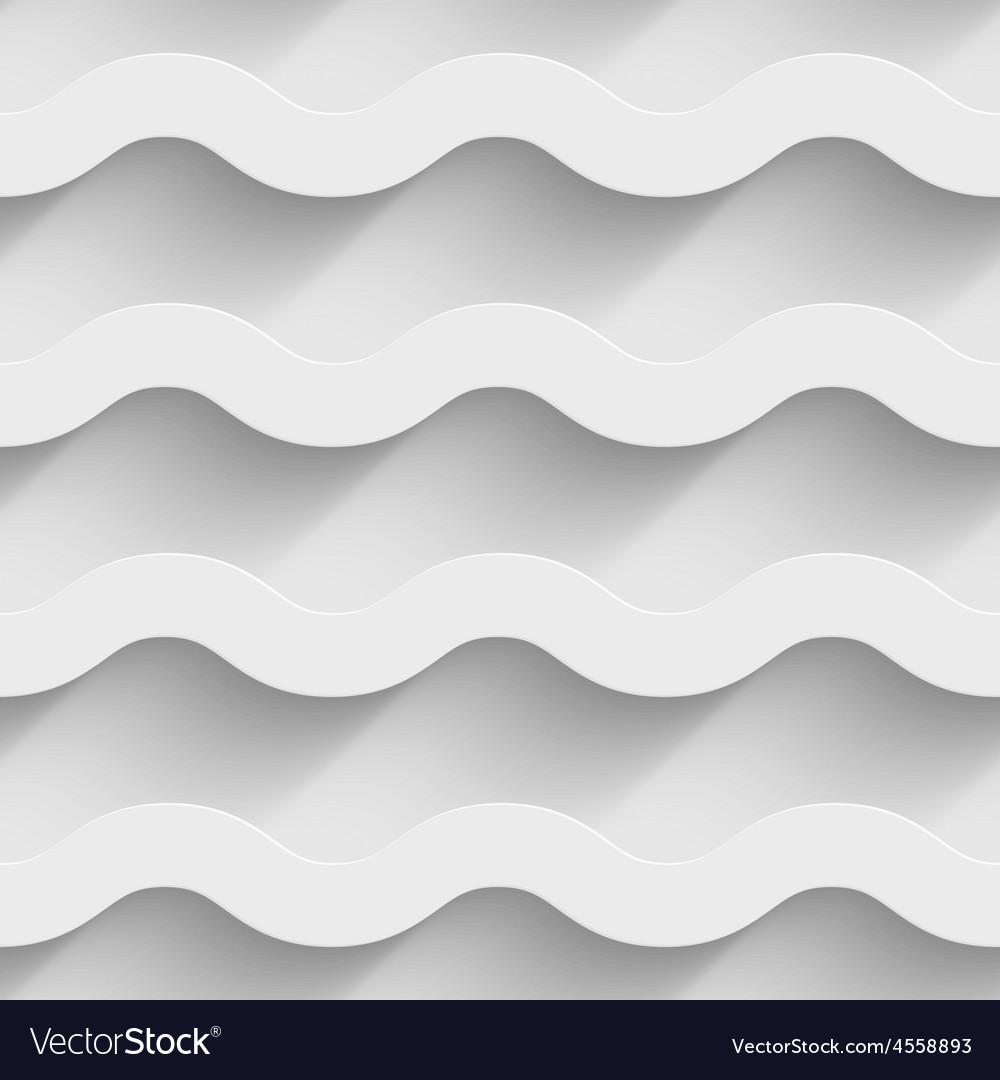 Abstract white paper 3d horizontal waves seamless