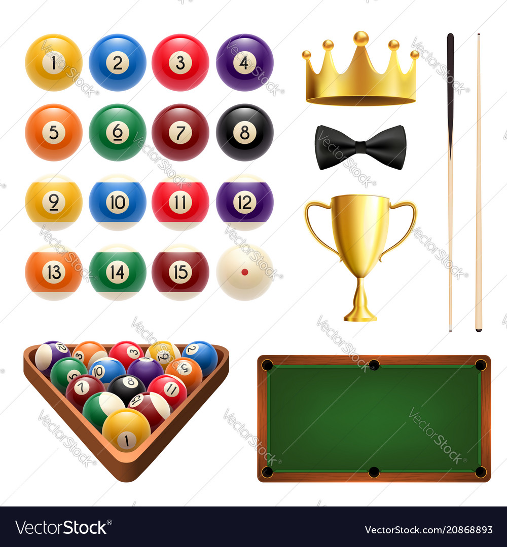 Billiards sport 3d icon with ball cue and table