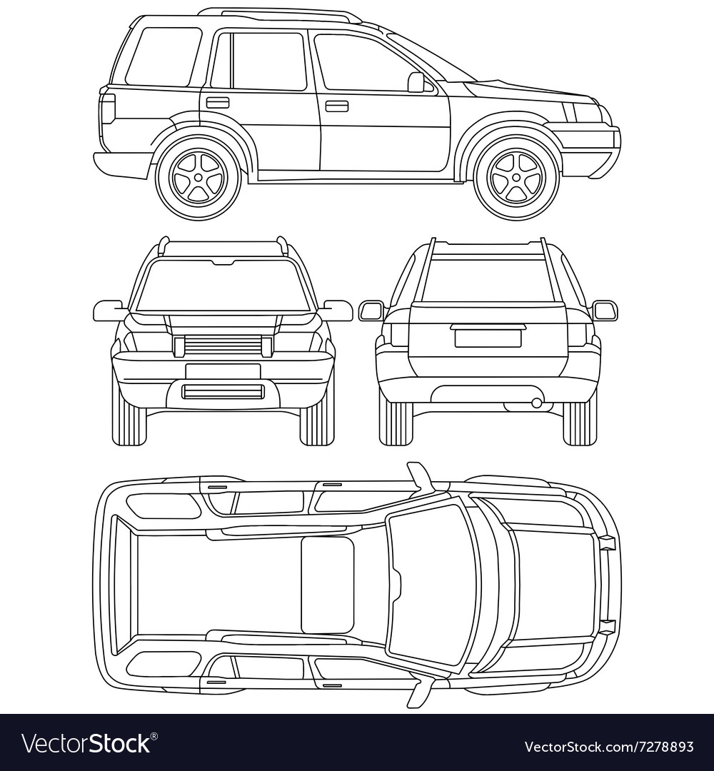 Car Truck Suv 4x4 Line Draw Damage Vector Image