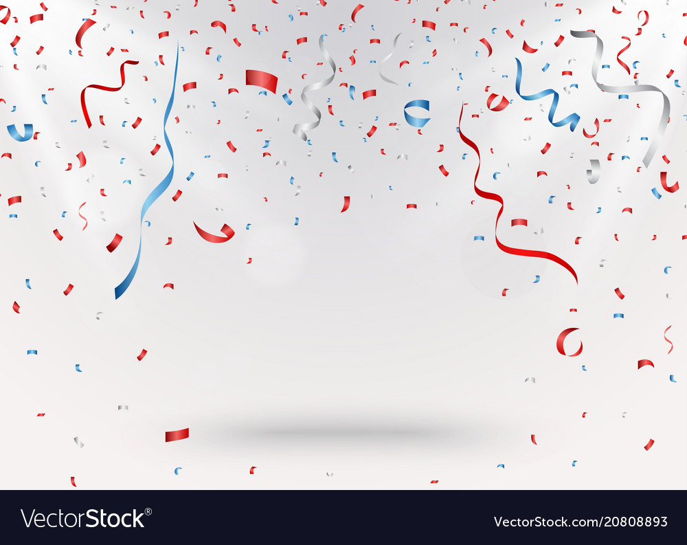Celebration background with red confetti and blue