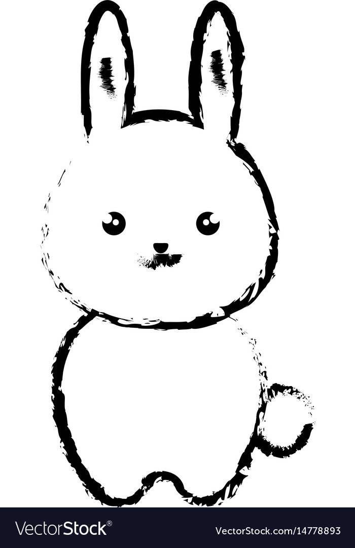 Cute and tender rabbit kawaii style