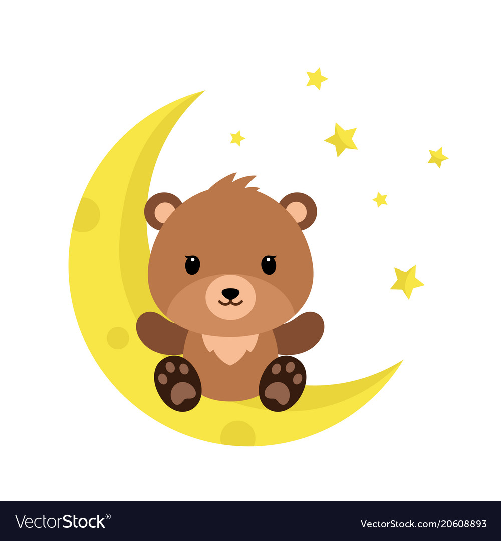 cute cartoon teddy bear on the moon royalty free vector