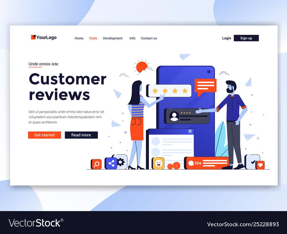 Flat modern design website template - customer