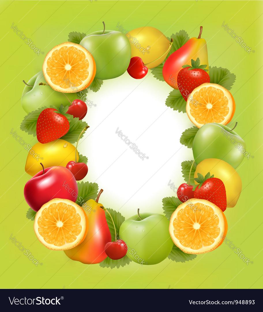 Fresh fruit in frame green background