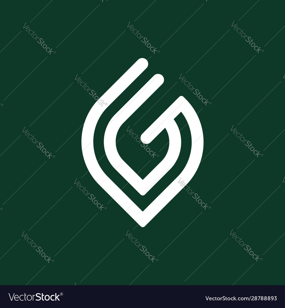 Initial letter g logo template with leaf line art