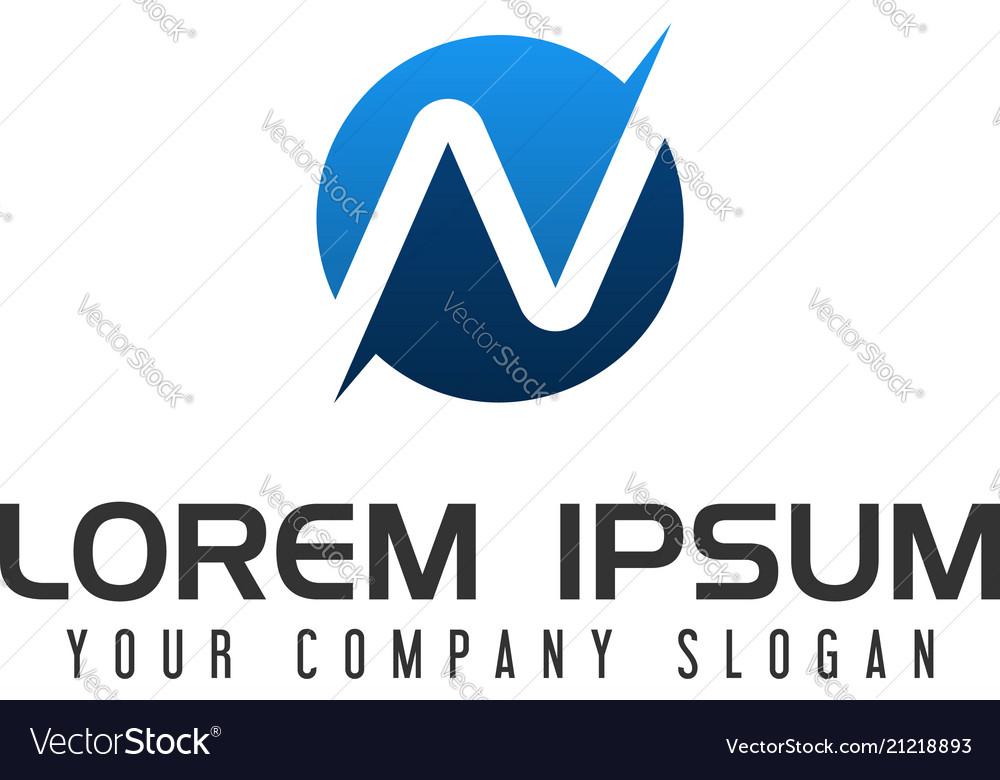 letter n logo design concept template vector image