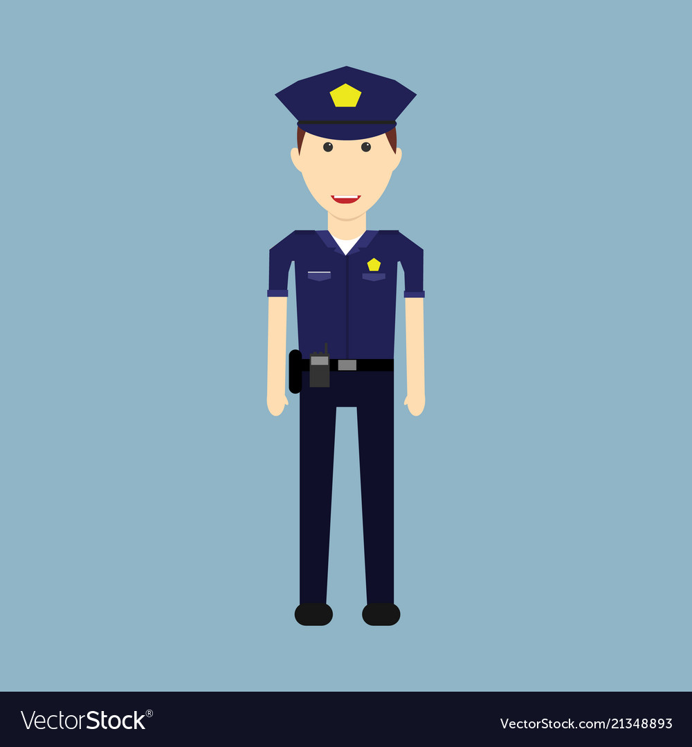Police character designmale security officer