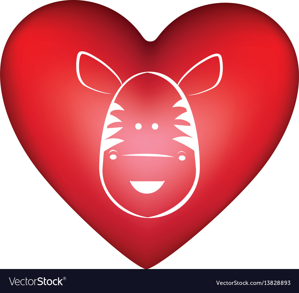 Red heart shape with silhouette face cute zebra