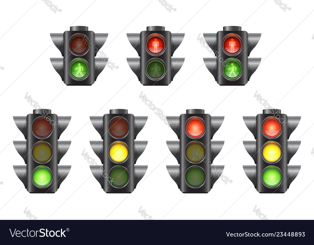 Set of realistic traffic lights for cars and