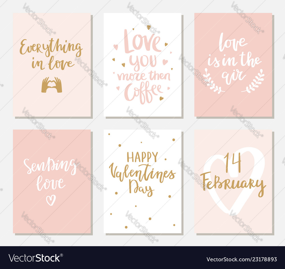 Set simple hand drawn valentines cards