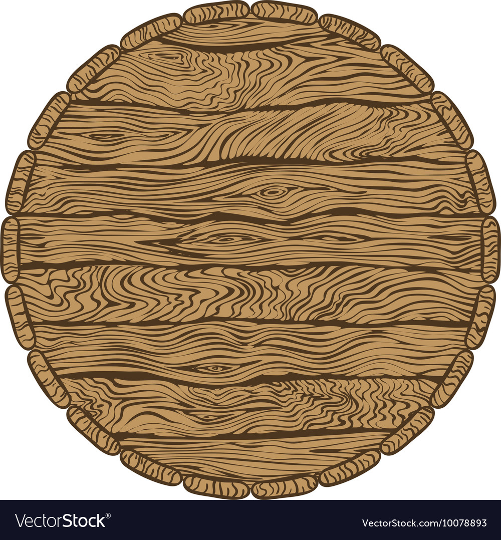 Top of wooden barrel vector image