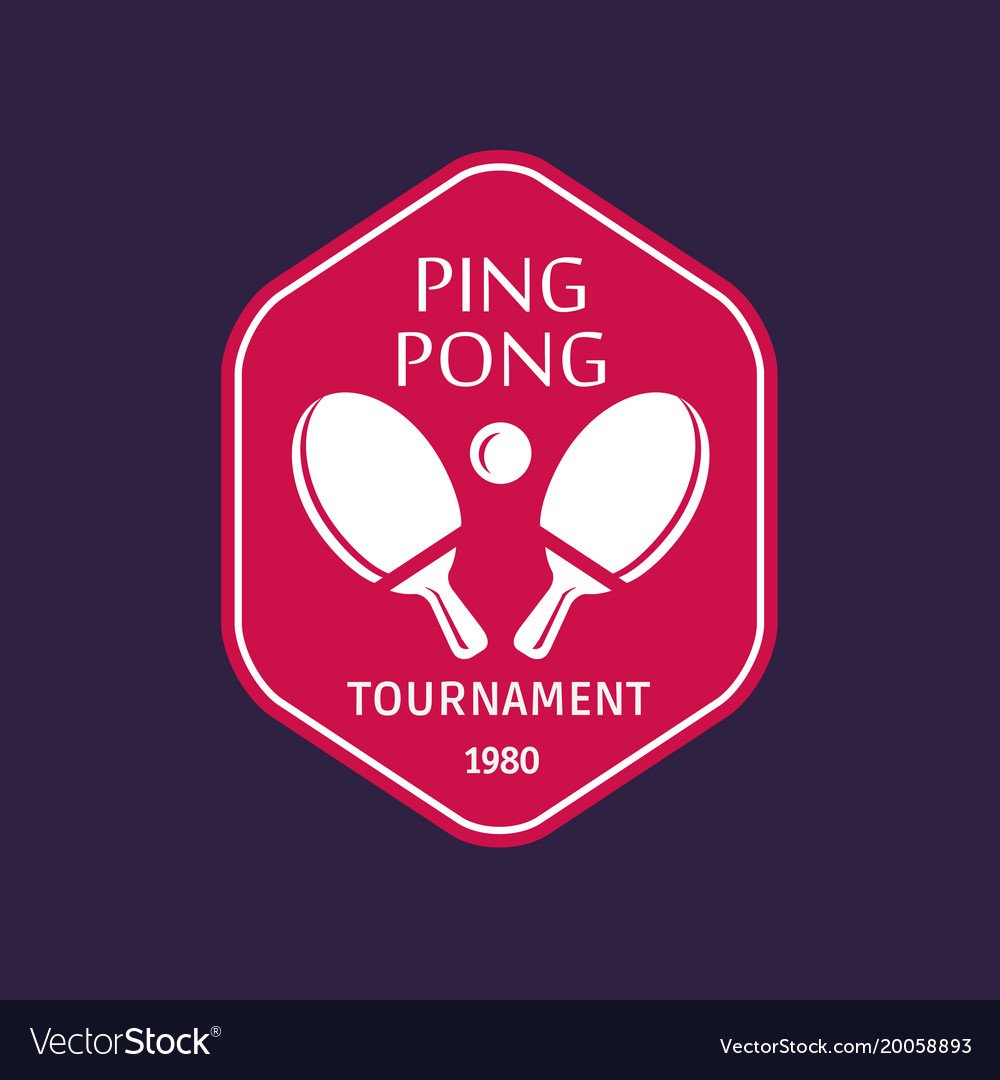 Vintage color table tennis logo ping pong