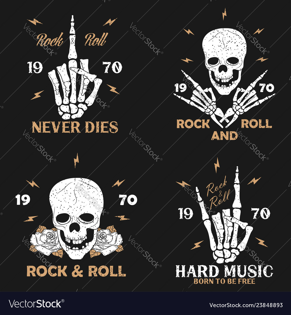 Vintage rock-n-roll t-shirt graphics set