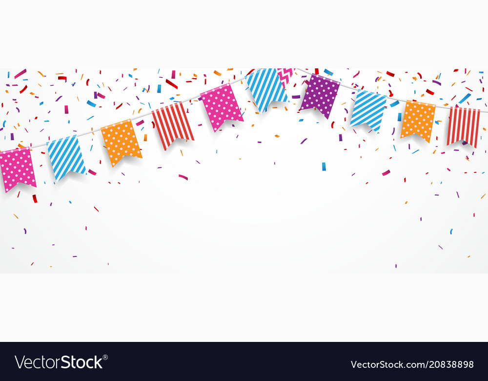 Colorful party flags with confetti and ribbons