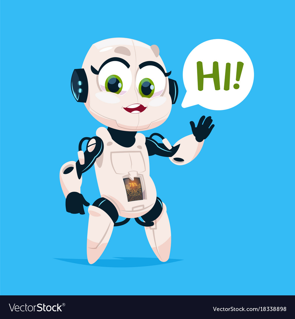 Cute robot girl say hi isolated icon on blue vector image