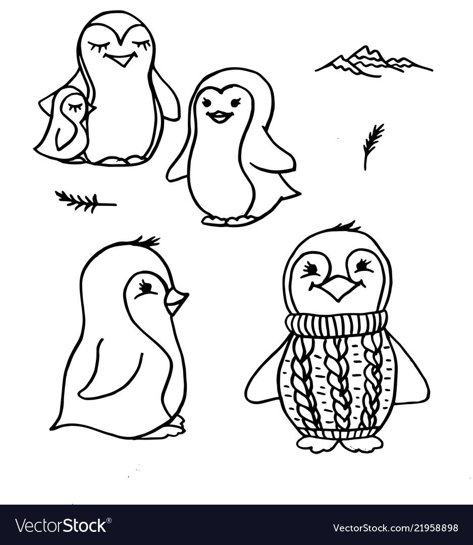 Doodle penguins cute black outline