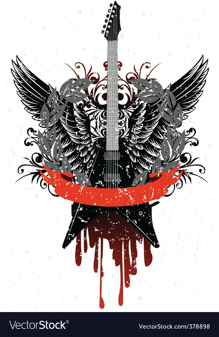 Guitar with wings vector image