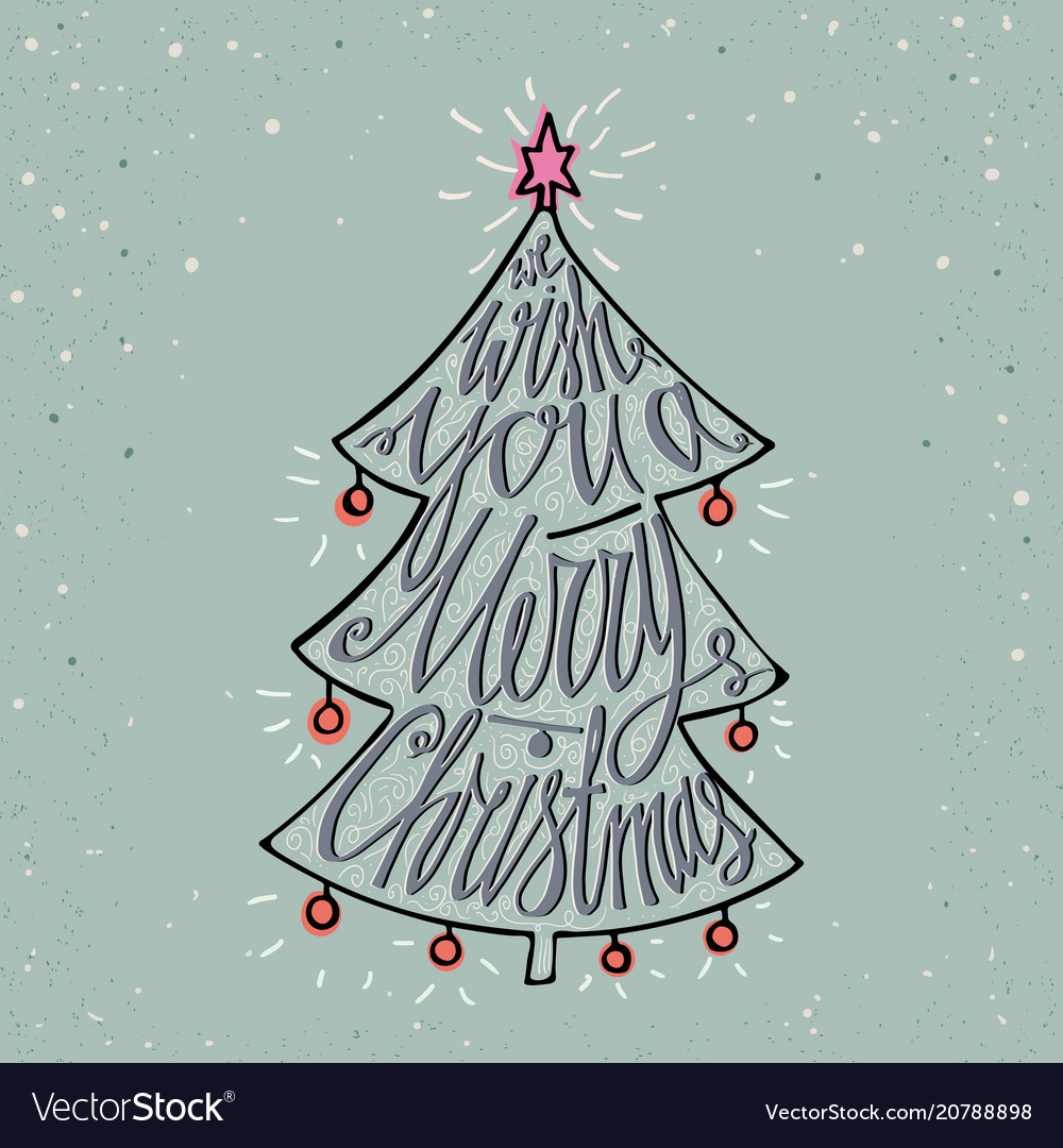 Hand drawn typographic poster merry christmas and