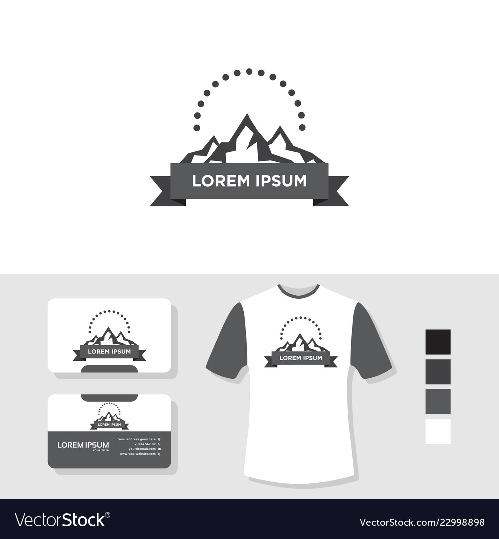 Mountain logo design with business card and t